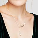 Mujer Collares con colgantes Collar con perlas Forma de Hoja Perla Perla Artificial Legierung Diseño Básico Ajustable Moda Joyas Para