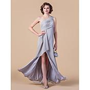 vaina / columna un hombro piso longitud de gasa de la madre del vestido de novia con el cristal de lan ting novia ®
