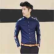 Hombres ocasionales adelgazan la camisa de la flor de moda Marca de manga larga