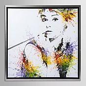 enmarcado arte de la lona, color salpica hepburn audrey con marco estirado
