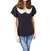 婦人向け カジュアル/普段着 オールシーズン Tシャツ,シンプル ピーターパンカラー パッチワーク ホワイト / ブラック 半袖 薄手