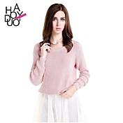 Mujer Regular Pullover Vintage,Un Color Rosa Manga Larga Acrílico Primavera Otoño Invierno Opaco Medio Elástico