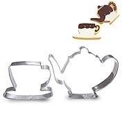 ティーカップとティーポットの形のクッキーカッターフルーツカット金型ステンレス鋼のセット2個