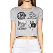 De las mujeres Simple Casual/Diario Verano Camiseta Estampado Manga Corta Algodón Gris Fino