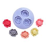 Flores Tres Agujeros Molde de silicona Fondant Flor Moldes Azúcar herramientas artesanales de resina Moldes para pasteles