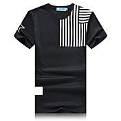 Kortærmet Herre Stribet Afslappet/Hverdag Sport T-shirt,Bomuld