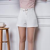 De las mujeres Pantalones Cortos-Simple Microelástico-Poliéster