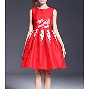 De las mujeres Línea A / Vaina Vestido Fiesta/Cóctel Sofisticado,Floral Escote Redondo Hasta la Rodilla Sin Mangas Rojo Rayón Verano