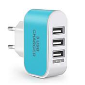 Carga rápida / Puertos Multi Cargador portátil Enchufe EU 3 puertos USB Sólo cargador para el teléfono móvil(5V , 3.1A)