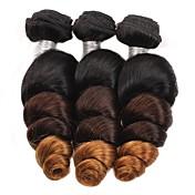 Cabello humano Cabello Brasileño Ombre Suelto Extensiones de cabello 3 Piezas Negro / Medio Brown / Strawberry Blonde