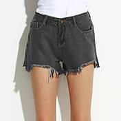 De las mujeres Pantalones Vaquero-Simple Rígido-Algodón