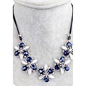 Mujer Collar Cristal Forma de Flor Brillante Floral Joyas Para Boda Fiesta Diario