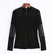 De las mujeres Vintage Noche Primavera / Otoño Camiseta,Cuello Barco Retazos Manga Larga Algodón / Licra Negro Medio