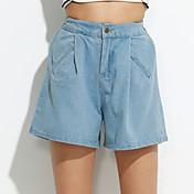 De las mujeres Pantalones Vaquero-Simple Microelástico-Algodón