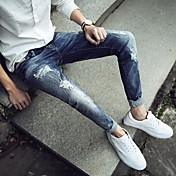 Hombre Moderno Tiro Medio strenchy Ajustado Pantalones,Lápices Color sólido Color puro
