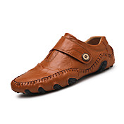 Hombre-Tacón Plano-Confort-Zapatos de taco bajo y Slip-Ons-Oficina y Trabajo Informal-Cuero de Napa-Negro Marrón