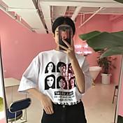 camiseta ulzzang2017年春季新款印花字母人头 femenina de Corea del Sur