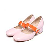 Mujer Zapatos Semicuero Primavera Otoño Pump Básico Tacones Para Casual Vestido Blanco Negro Rosa Almendra