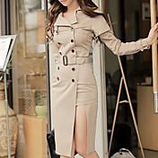 Mujer Línea A Vestido Cita Calle Casual/Diario Simple,Color sólido Cuello Camisero Hasta la Rodilla Manga Larga N/A Otoño Tiro Alto Rígido