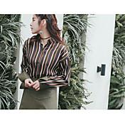 2017 nuevos modelos de primavera de costura de cuero camisa de rayas sueltas modelo de moda punto de tiro real