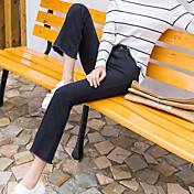 Nueve nuevos pantalones vaqueros de Corea del pantalón boot-cut pantalones estiramiento de la cintura delgada bordes franjados retro