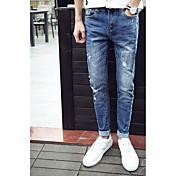 Hombre Casual Tiro Medio strenchy Ajustado Pantalones,Lápices Color sólido Color puro