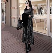 Mujer Línea A Vestido Uso Diario Cita Vacaciones Boho,Puntos Escote Redondo Maxi Manga Larga N/A Primavera Otoño Tiro Alto Rígido Medio