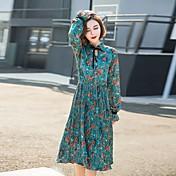 principios de la primavera 2017 nuevo vestido de flores de gasa coreano de manga larga era delgada cintura falda plisada delgada de tocar