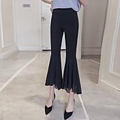 Mujer Sencillo Chic de Calle Tiro Alto Alta elasticidad Chinos Pantalones,Ajustado a la Bota Un Color