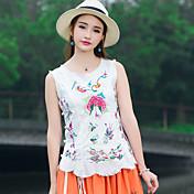 Mujer Bonito Tejido Oriental Casual/Diario Tank Tops,Escote Redondo Floral Sin Mangas Algodón Lino