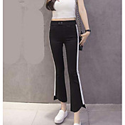 Mujer Sencillo Tiro Medio Microelástico Chinos Pantalones,Ajustado a la Bota Un Color