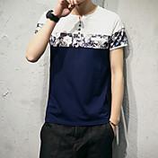 Hombre Simple Casual/Diario Camiseta,Escote Redondo Estampado Manga Corta Algodón