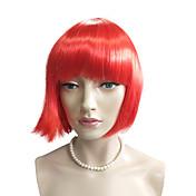 Mujer Pelucas sintéticas Sin Tapa Corto Liso Liso Natural Rojo Corte Bob Peluca natural Las pelucas del traje