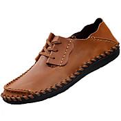 Hombre Zapatos de taco bajo y Slip-Ons Confort PU Primavera Otoño Exterior Tacón Plano Marrón Claro Plano