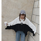 Mujer Sudadera Casual/Diario Bloques Escote en Pico Alta elasticidad Algodón Manga Larga