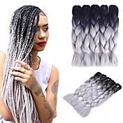 """Jumbo Box Trenzas Ombre Trenzar el cabello Kanekalon Gris oscuro Extensiones de cabello 24 """" Las trenzas de pelo"""