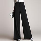 Mujer Sencillo Tiro Alto Inelástica Chinos Pantalones,Perneras anchas Un Color