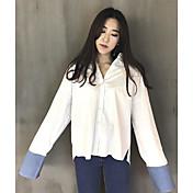 Mujer Simple Casual/Diario Primavera Verano Camisa,Cuello Camisero Un Color A Rayas Manga Larga Algodón Fino
