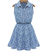Mujer Línea A Corte Ancho Vaina Vestido Noche Casual/Diario Playa Sexy Vintage Bonito,Un Color Floral Estampado Escote CuadradoSobre la