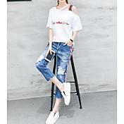 Mujer Verano T-Shirt Pantalón Trajes,Escote Inclinado Manga Corta