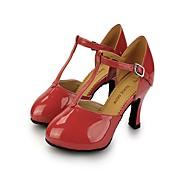 Mujer Moderno Cuero Patentado Zapatilla Tacones Alto Entrenamiento Hebilla Tacón Stiletto Amarillo Fucsia Rojo claro Rosa Caqui 5-7cms