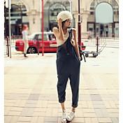 Mujer Sencillo Tiro Medio Inelástica Mono Pantalones,Pantalones Harén Un Color