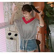 Mujer Regular Pullover Casual/Diario A Rayas Escote en Pico Manga 3/4 Algodón Verano Fino Microelástico