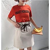 Mujer Casual Otros Casual Verano T-Shirt Falda Trajes,Escote Redondo Un Color Letra Manga Corta