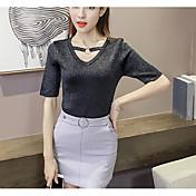 Mujer Regular Cardigan Casual/Diario Simple,Un Color Escote en Pico Manga Corta Algodón Otro Verano Medio Elástico