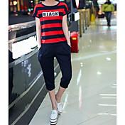 Mujer Casual Casual/Diario Verano T-Shirt Pantalón Trajes,Escote Redondo A Rayas Refranes y citas Manga Corta Microelástico