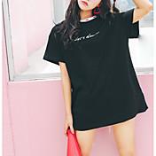 Mujer Simple Bonito Casual/Diario Camiseta,Escote Redondo Estampado Manga Corta Algodón