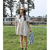 Mujer Simple Casual/Diario Verano Polo,Escote Redondo Un Color Manga Corta Algodón Medio