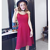 Mujer Vaina Vestido Noche Un Color Con Tirantes Midi Sin Mangas Algodón Poliéster Verano Tiro Alto Microelástico Fino