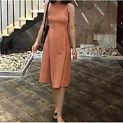 Mujer Vaina Vestido Noche Casual/Diario Un Color Hombros Caídos Midi Sin Mangas Algodón Poliéster Verano Tiro Alto Microelástico Fino